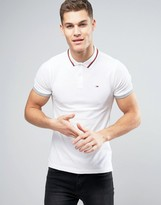 Tommy Hilfiger Stretch Pique Polo Slim Fit Icon Stripe Collar in White
