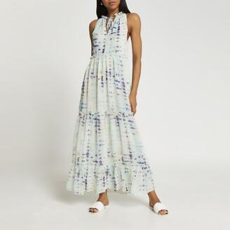 River Island Womens Blue tiered tie dye maxi dress
