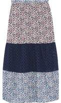 Miguelina Lillian Broderie Anglaise-Paneled Printed Cotton-Voile Midi Skirt