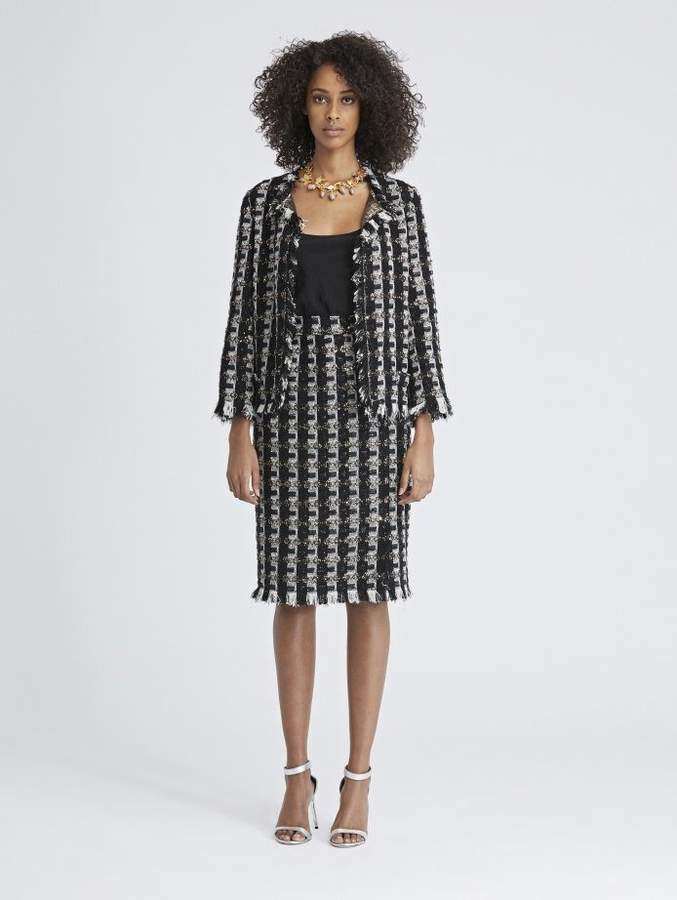 Oscar de la Renta Sequin Stripes Tweed Pencil Skirt