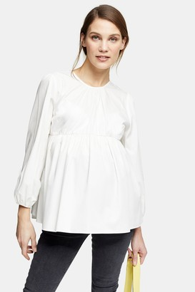 Topshop Womens **Maternity Ivory Poplin Smock Blouse - Ivory