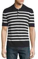 Burberry Highlands Striped Short-Sleeve Polo Shirt, Black/White