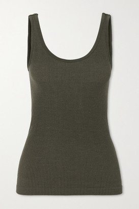 NAGNATA + Space For Giants Avika Ribbed Technical Stretch-knit Tank - Army green