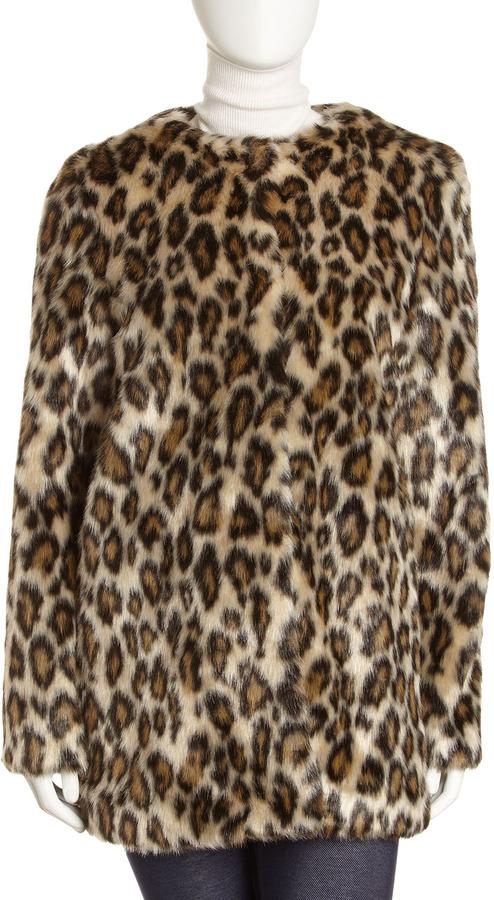 Nicole Miller Faux-Fur Leopard-Print Coat