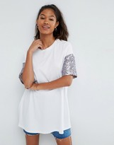 Asos T-Shirt With Sequin Sleeve