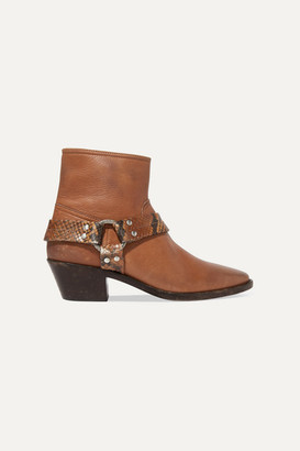 Golden Goose Bretagne Distressed Leather And Snake-effect Ankle Boots - Tan