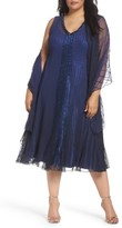 Komarov Plus Size Women's Embellished Mixed Media A-Line Dress With Wrap