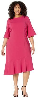 Adrianna Papell Plus Size Knit Crepe Ruffle Midi Dress w/ Bell Sleeve (Warm Cherry) Women's Dress