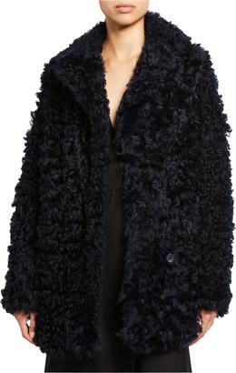 Sies Marjan Oversized Curly Shearling Pea Coat