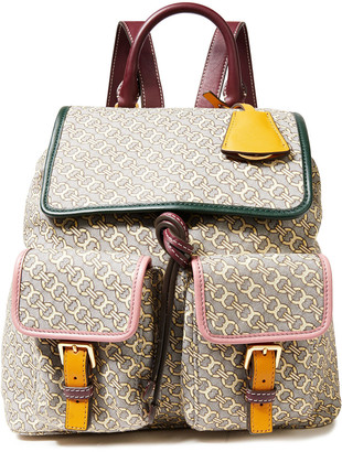 Tory Burch Leather-trimmed Logo-jacquard Backpack