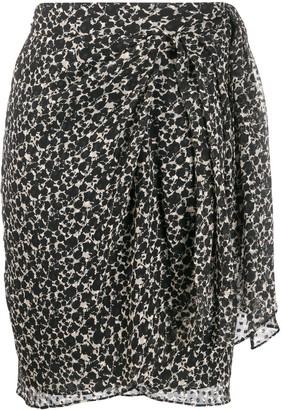 IRO Asymmetric Floral Midi Skirt