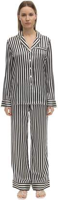 Olivia von Halle LILA STRIPED SILK PAJAMA SET
