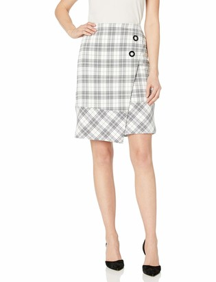 Nine West Women's Asymetrical 2 Button Plaid WRAP Skirt