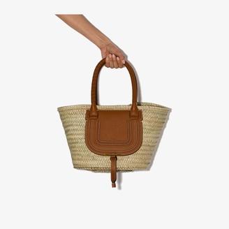 Chloé brown Marcie straw leather basket bag