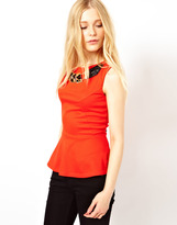 River Island Peplum Top With Necklace Detail