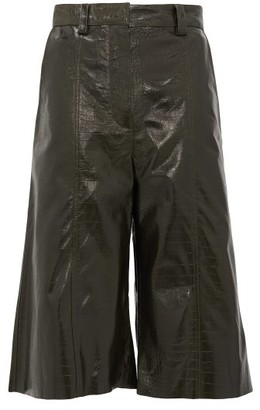 Dodo Bar Or Ivgeniya Crocodile-effect Leather Culottes - Dark Green