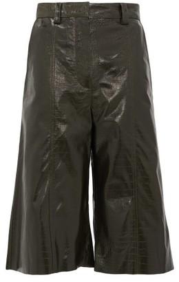 Dodo Bar Or Ivgeniya Crocodile-effect Leather Culottes - Womens - Dark Green
