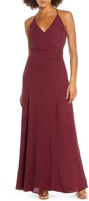 WAYF The Allison Faux Wrap Chiffon Gown
