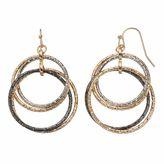 Apt. 9 Tri Tone Intertwined Drop Hoop Earrings