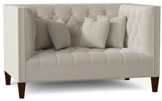 "Chatham 56"" Tuxedo Arm Loveseat Duralee Furniture Body Fabric: Alyssa Gray"