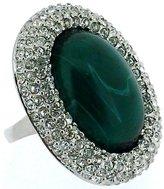 Kenneth Jay Lane Swarovski Crystal & Emerald Green Opal Stone Oval Ring
