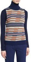 Diane von Furstenberg Carsyn Striped Sweater Vest, Midnight/Orange/Khaki