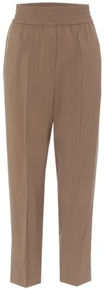 Brunello Cucinelli High-rise stretch-wool straight pants