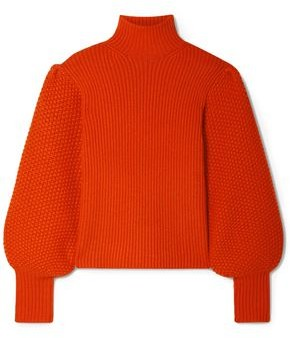 Chloé Crochet-paneled Ribbed Wool And Cashmere-blend Turtleneck Sweater