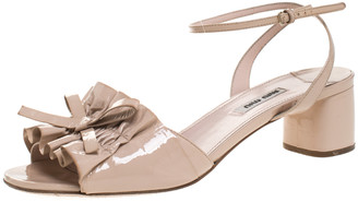 Miu Miu Beige Patent Leather Ruffled Bow Embellished Ankle Strap Sandals Size 41