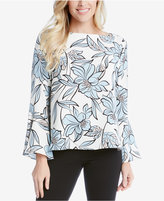 Karen Kane Printed Flared-Sleeve Top