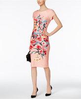 ECI Printed Long Cap-Sleeve Sheath Dress