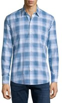 Zachary Prell DD Plaid Long-Sleeve Sport Shirt, Blue
