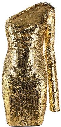 Versace Sequinned One-Shoulder Dress