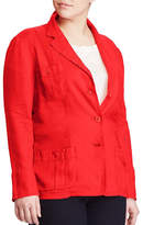 Lauren Ralph Lauren Plus Linen Three-Button Blazer