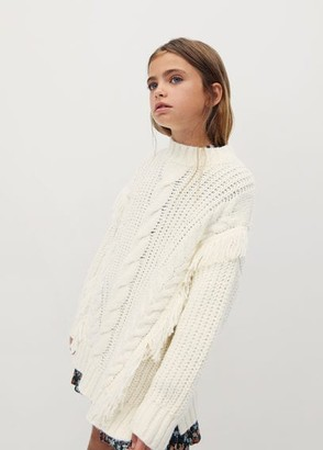 MANGO Fringed cable-knit sweater