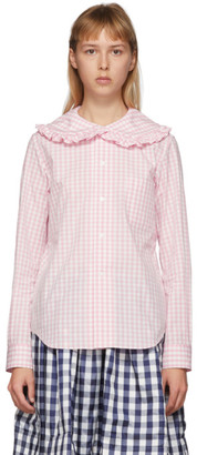 COMME DES GARÇONS GIRL Pink and White Check Peter Pan Collar Blouse