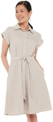 Chaps Women's Short Sleeve Shirt Dress with Tie Belt
