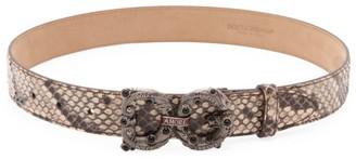 Dolce & Gabbana Amore Logo Python Belt