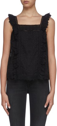 Frame Katie button back sleeveless lace top