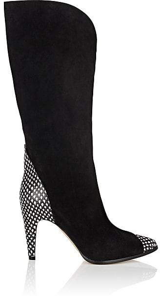Givenchy Women's Suede & Stamped Leather Knee Boots - Black