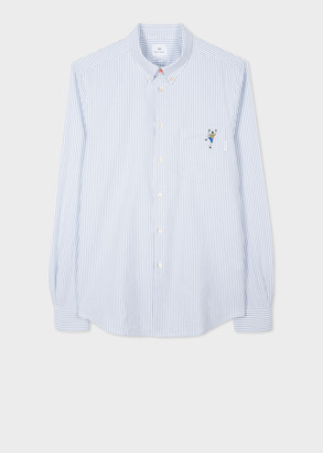 Paul Smith Men's Tailored-Fit Blue Stripe Oxford Shirt With Embroidered 'Climber'