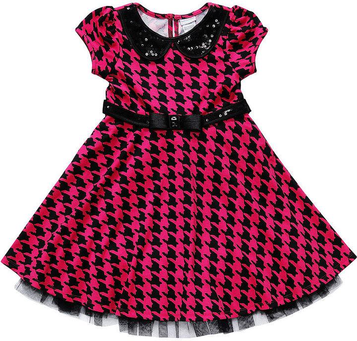 Sweet Heart Rose Girls Dress, Little Girls Houndstooth Party Dress