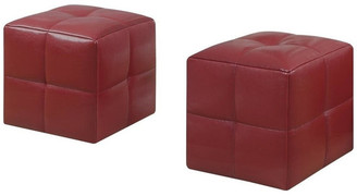 Monarch Specialties Inc. Juvenile Ottomans, Set of 2, Red, Material: Faux Leather