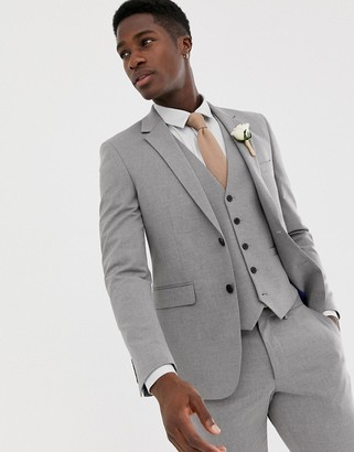 Burton Menswear wedding skinny fit suit jacket in light grey