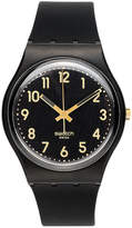 Swatch Watch, Unisex Swiss Golden Tac Black Silicone Strap 34mm GB274