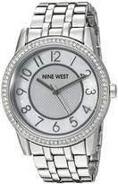 Nine West Women's NW/1745WMSB Easy To Read Swarovski Crystal Accented Silver-Tone Bracelet Watch