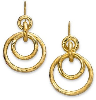 Ippolita Classico Puffy 18K Yellow Gold Hammered Jet Set Earrings