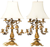 One Kings Lane Vintage French Bronze Dore Lamps - Set of 2 - Chez Marie Antiques - gold