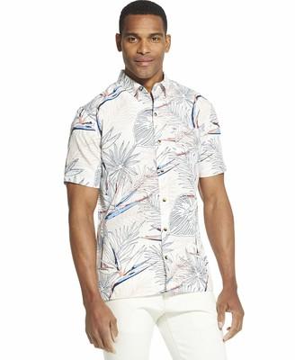 Van Heusen Men's Big and Tall Air Short Sleeve Button Down Poly Rayon Solid Shirt