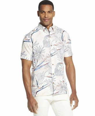 Van Heusen Men's Tall Air Tropical Print Short Sleeve Button Down Shirt